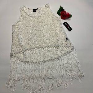 Eye Candy Womens Sz 1X Lace Fringed Tank Top Shirt